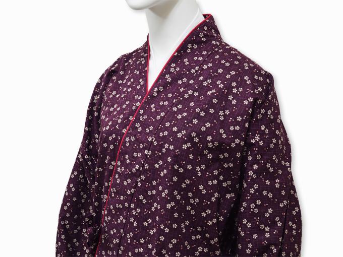 女性総柄作務衣 絣桜(かすりさくら)紫(パープル)上着1