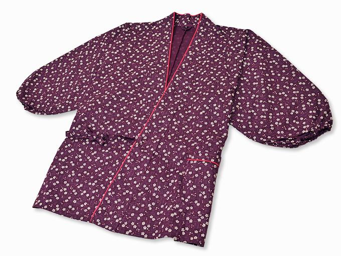 女性総柄作務衣 絣桜(かすりさくら)紫(パープル)上着2
