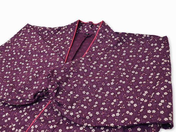 女性総柄作務衣 絣桜(かすりさくら)紫(パープル)上着3
