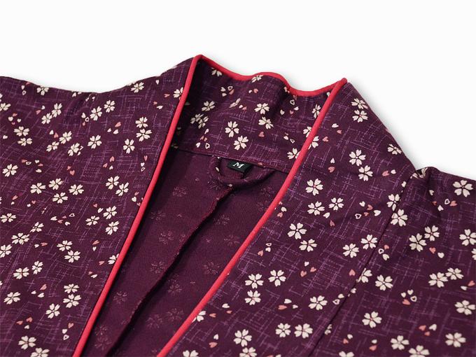 女性総柄作務衣 絣桜(かすりさくら)紫(パープル)衿部分