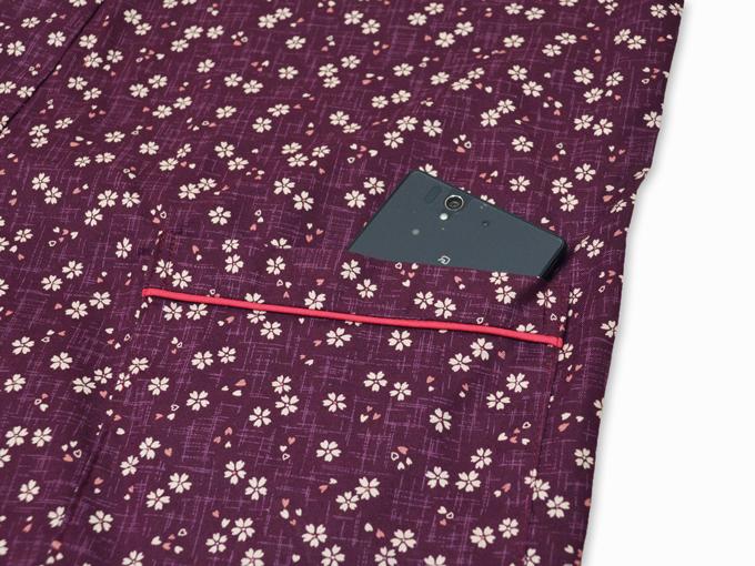 女性総柄作務衣 絣桜(かすりさくら)紫(パープル)ポケット部分
