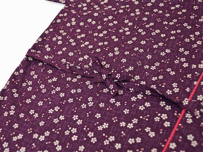 女性総柄作務衣 絣桜(かすりさくら)紫(パープル)紐部分