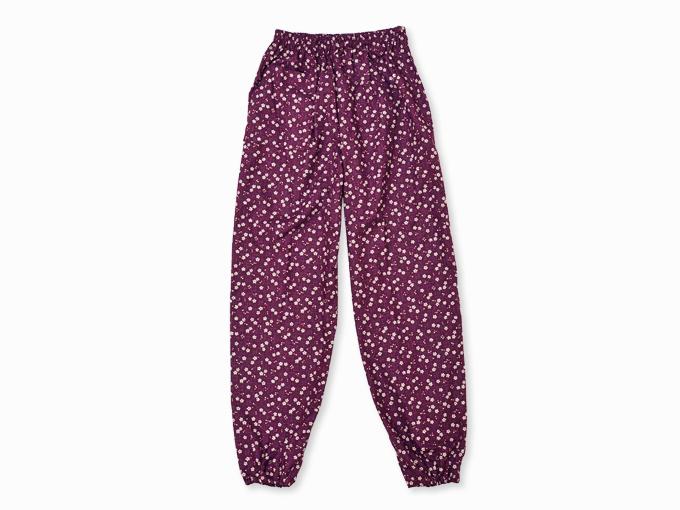 女性総柄作務衣 絣桜(かすりさくら)紫(パープル)ズボン