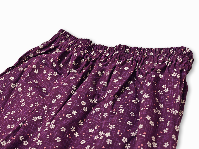 女性総柄作務衣 絣桜(かすりさくら)紫(パープル)ズボンウエスト