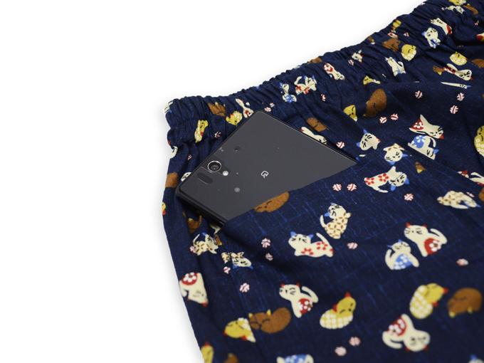 女性総柄作務衣 猫(ねこ) ズボンポケット
