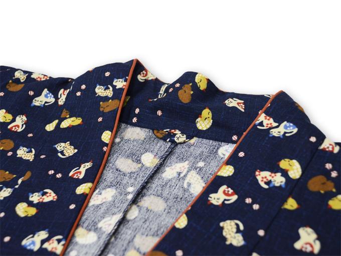 女性総柄作務衣 猫(ねこ) 衿部分