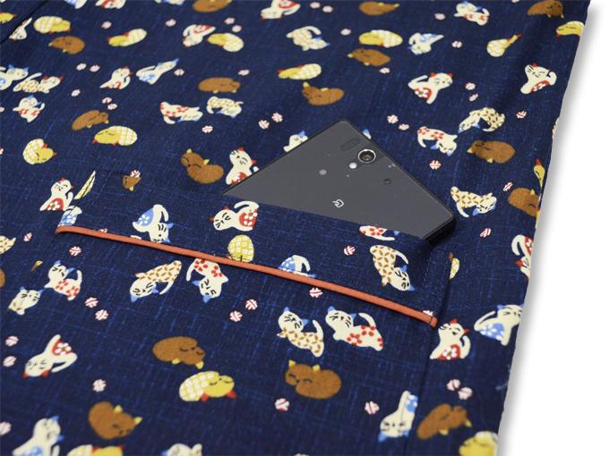 女性総柄作務衣 猫(ねこ) ポケット部分