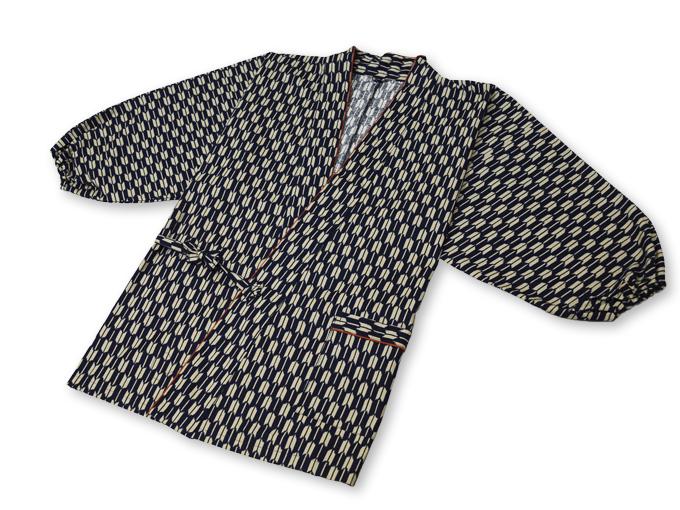 女性総柄作務衣 矢絣やがすり(矢羽根やばね)上着2