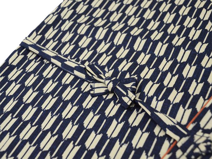 女性総柄作務衣 矢絣やがすり(矢羽根やばね)紐部分