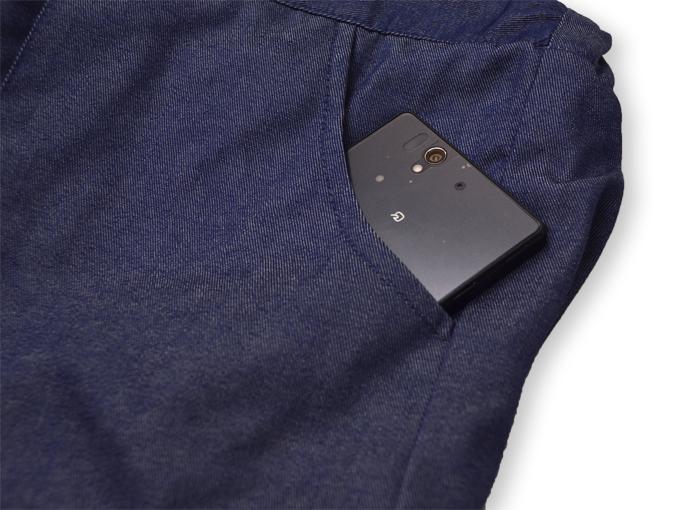 デニム綿入キルト作務衣 中紺(ブルー) ズボンポケット部分