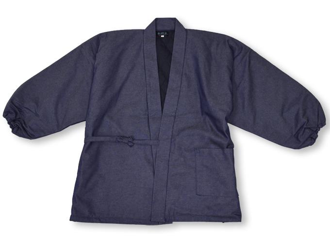 デニム綿入キルト作務衣 中紺(ブルー) 上着