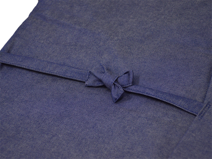デニム綿入キルト作務衣 中紺(ブルー) 上着紐部分