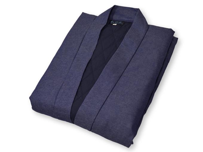 デニム綿入キルト作務衣 中紺(ブルー) 畳んだ状態