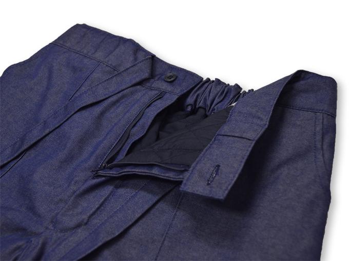 デニム綿入キルト作務衣 中紺(ブルー) ウエスト部分
