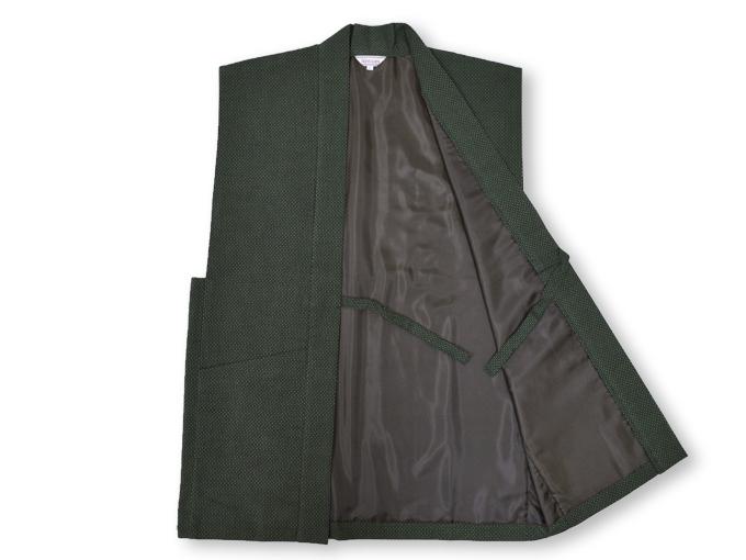 大柄ドビー刺子・作務衣用羽織 グリーン