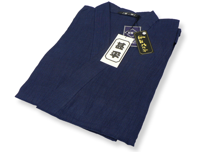 本麻楊柳甚平(日本製) 濃紺 畳み