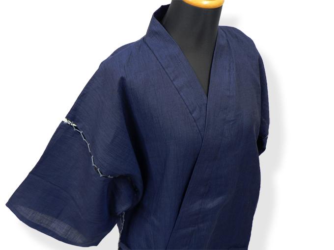 本麻楊柳甚平(日本製) 濃紺 マネキン着用右