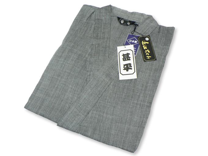 本麻楊柳甚平(日本製) グレー 畳み