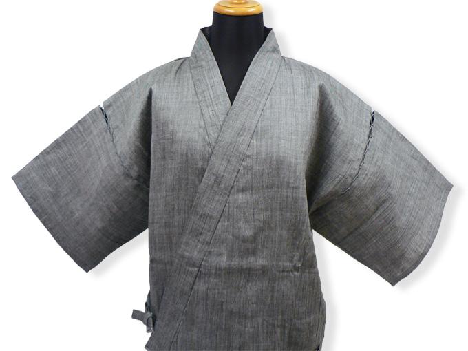 本麻楊柳甚平(日本製) グレー マネキン着用正面
