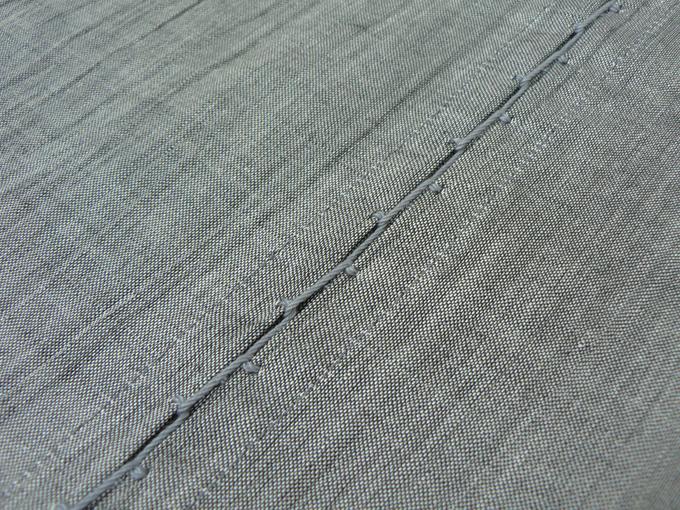 本麻楊柳甚平(日本製) グレー 袖付けタコ糸