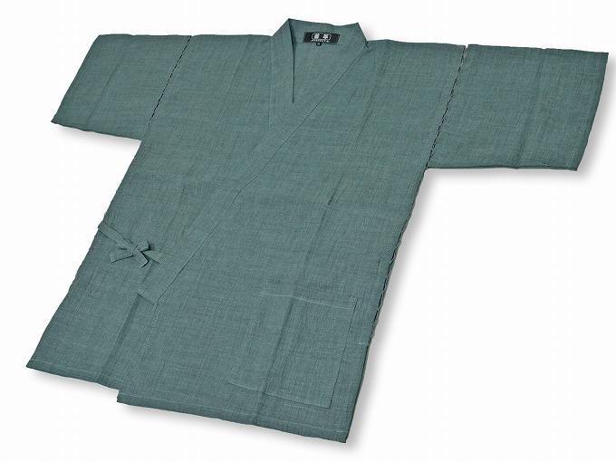本麻楊柳甚平(日本製) グリーン 上着
