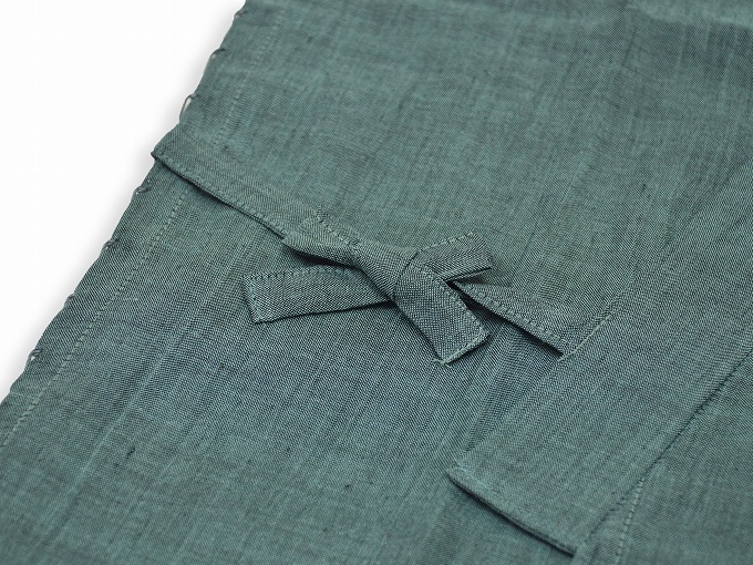 本麻楊柳甚平(日本製) グリーン 上着紐部分