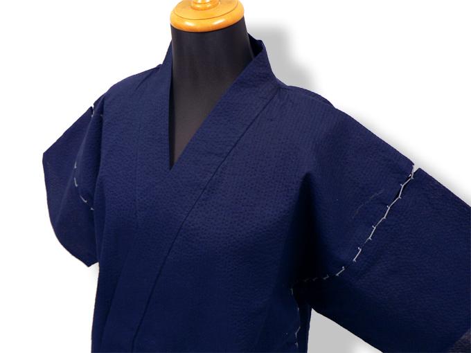 綿しじら甚平(日本製) 濃紺 マネキン着用左