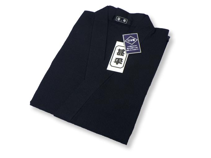 綿しじら甚平(日本製) 黒 畳み