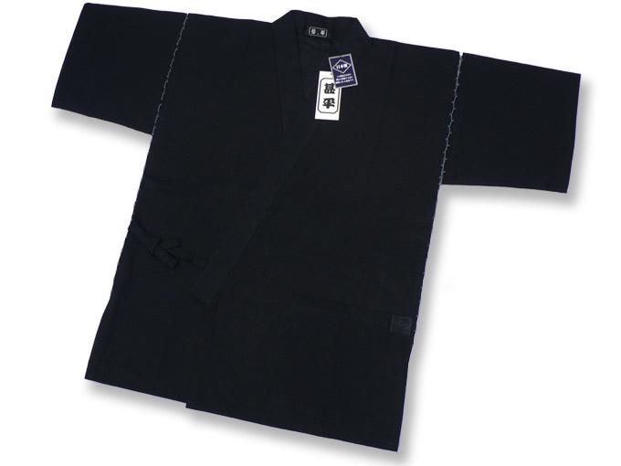 綿しじら甚平(日本製) 黒 上着