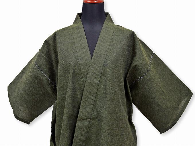 綿しじら甚平(日本製) グリーン 正面上着