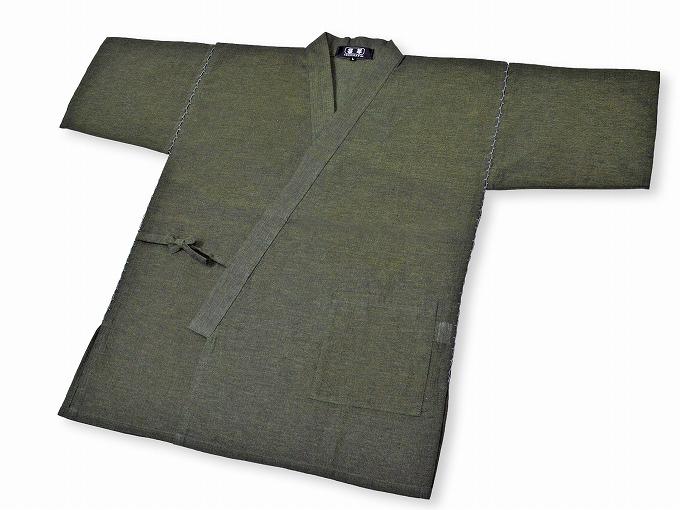 綿しじら甚平(日本製) グリーン 上着