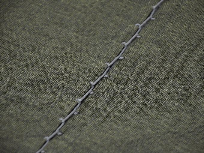 綿しじら甚平(日本製) グリーン 袖付けタコ糸