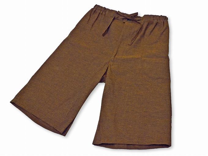 綿しじら甚平(日本製) 茶色 ズボン