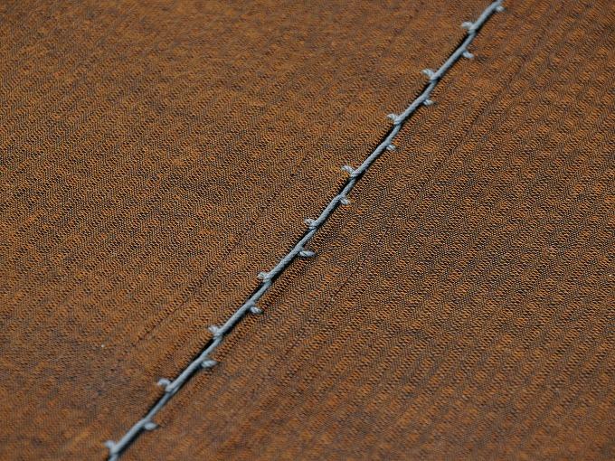 綿しじら甚平(日本製) 茶色 袖付けタコ糸