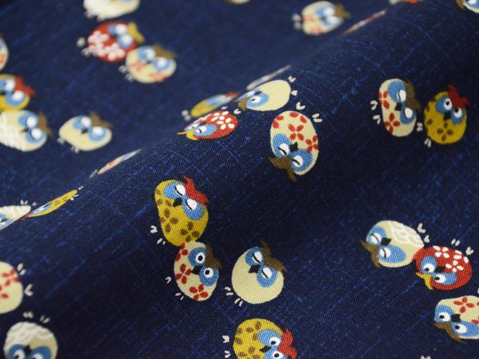 女性総柄作務衣 NO.2 フクロウ(紺)