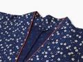 女性総柄作務衣 絣桜(かすりざくら)紺衿部分