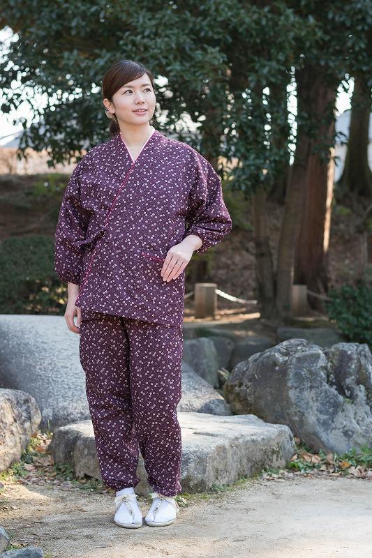 女性総柄作務衣 絣桜(かすりさくら)紫(パープル)