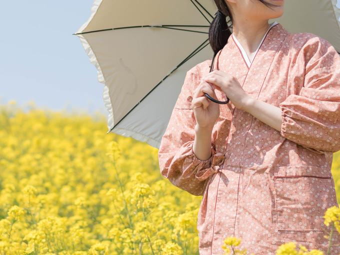女性総柄作務衣 桜(さくら)ピンク イメージ写真