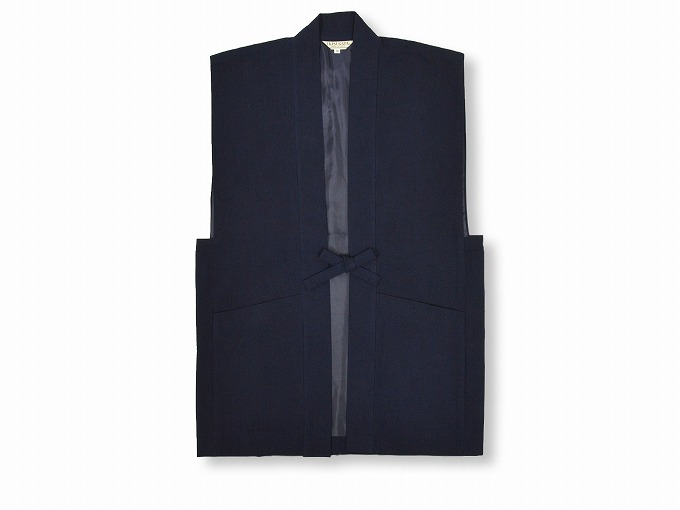 日本製たてスラブ作務衣羽織 濃紺