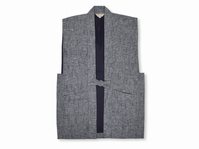 日本製たてスラブ作務衣羽織 ネズ