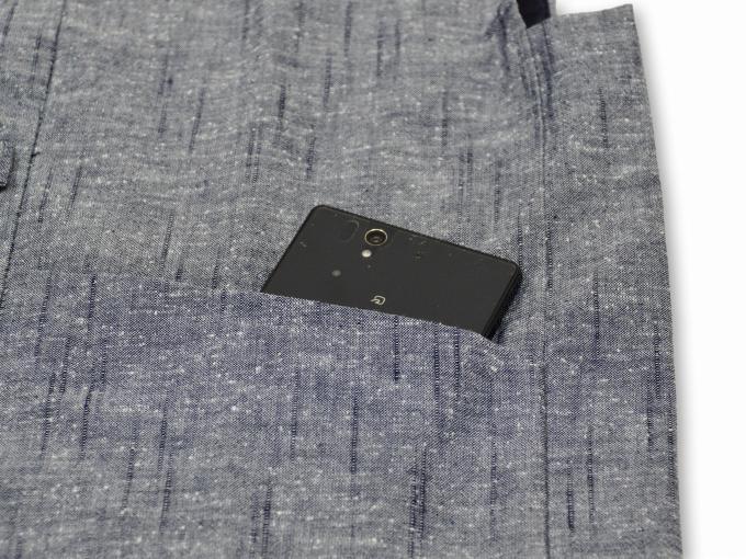 たてスラブ作務衣羽織 ネズポケット部分
