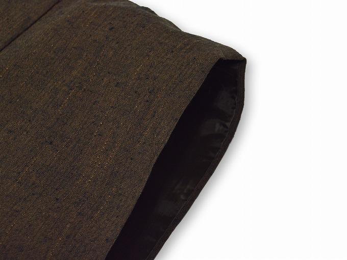 たてスラブ作務衣羽織 茶 肩部分