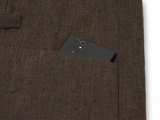 たてスラブ作務衣羽織 茶 ポケット部分