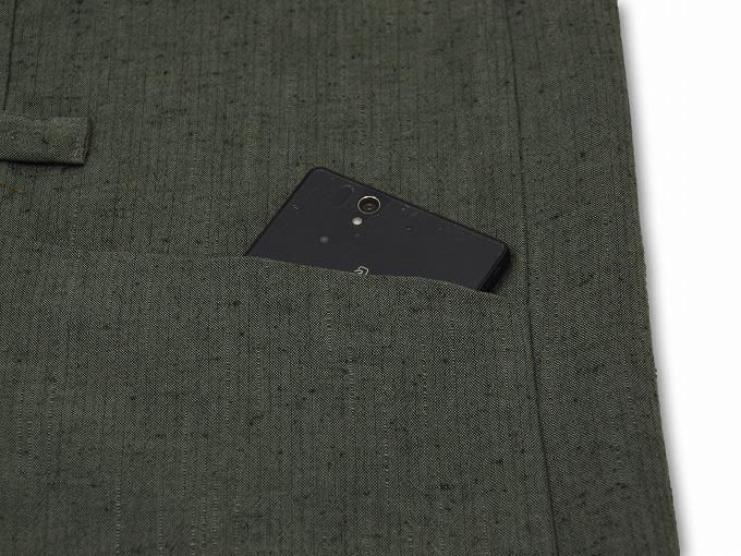 たてスラブ作務衣羽織 グリーン ポケット部分