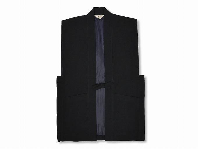 日本製たてスラブ作務衣羽織 黒
