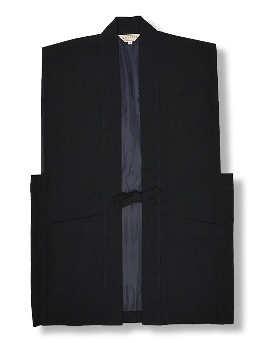 たてスラブ作務衣羽織 黒(ブラック)