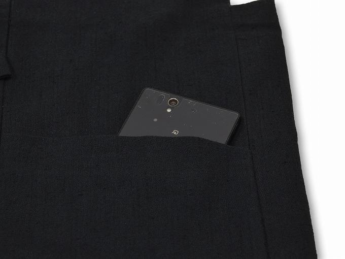 たてスラブ作務衣羽織 黒(ブラック) ポケット部分