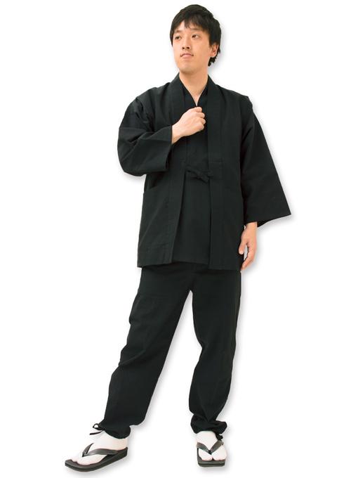 たてスラブ作務衣羽織 黒(ブラック) 見開き