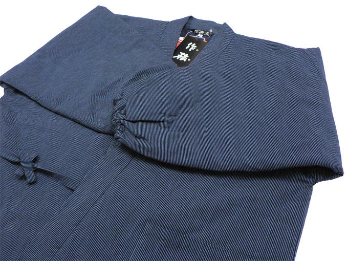 キルト縞(しま)柄作務衣 濃紺