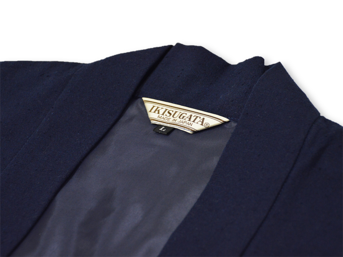 地厚生地作務衣用 羽織 IKISUGATA 濃紺 衿部分